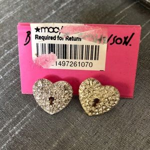 New Betsey Johnson rhinestone heart lock earring